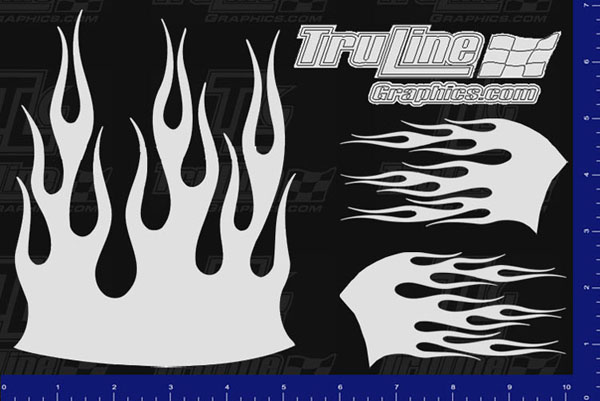Mask Kit Flames 4 Truline Graphics Rc Racing Decals