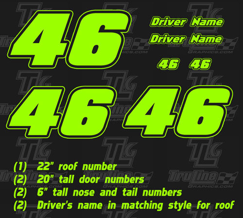 Race Car Numbers 2 Digit 1 Color Kit Truline Graphics
